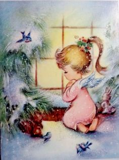 Pretty Glittered Angel in the Window Vintage Christmas Card 1565 Vintage Christmas Images, Old Christmas, Old Fashioned Christmas, Christmas Scenes, Retro Christmas, Vintage Holiday, Christmas Pictures, Christmas Angels, Xmas