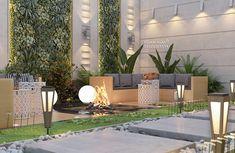 Garden Wall Designs, Back Garden Design, Terrace Design, Outdoor Paving, Outdoor Fireplace Designs, Villa, Brick Garden, Interior Garden, Dream House Exterior