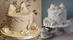 Fondant Cake Decorating ♥ Lace Hatbox Hochzeitstorte mit essbaren Zucker Rosen… Fondant Cake Decorating ♥ Lace Hatbox Wedding Cake with Edible Sugar Roses and Pearls of Cotton and Crumbs Gorgeous Cakes, Pretty Cakes, Cute Cakes, Amazing Cakes, Torte Rose, Hat Box Cake, Cotton And Crumbs, Buffet Dessert, Elegant Cakes
