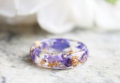 Eco Resin Ring with Natural Pressed Purple Petals by livinlovin