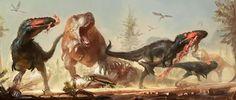 Asian Tyrannosaurids - Tarbosaurus bataar and Alioramus altai from the Late Cretaceous period of Asia.