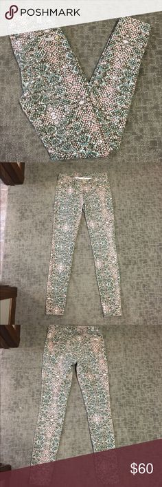 7 for all mankind colored denim Rock out in these awesome 7 for all mankind skinny jeans. They're a pink and green snake print patterned denim. They're a size 26 and they are in perfect condition.   BUNDLE AND SAVE  NO TRADES REASONABLE OFFERS CONSIDERED  FEEL FREE TO ASK QUESTIONS I DO NOT MODEL 7 For All Mankind Jeans Skinny