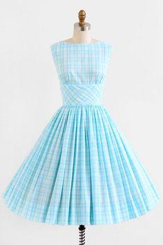 vintage 1950s blue + white gingham dress + jacket set | http://beautifuldress.kira.lemoncoin.org
