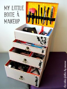 Ca y est, enfin fini !!! J'ai enfin trouvé le temps de finir la boite à maquillage faite de récup de Little box et je suis plutôt satisfaite du résultat ! Comme promis, voici une tentative de tuto pour celles qui seraient tentées d'essayer. Le montage...