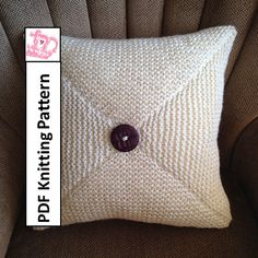 """PDF KNITTING PATTERN  Four Triangles 18""""/45cm square chunky knit pillow cover by LadyshipDesigns Great for beginners looking for a new challenge $4.95 - click on photo to buy pattern now!"""