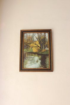 Antique Giltwood  Frame Gold and Black With Natural Running Brook Scenery