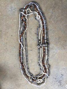 Gray Matte Quartz Pave Diamond Silk Knotted Long Necklace