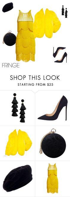 """Fringe"" by lyra010 ❤ liked on Polyvore featuring BaubleBar, Saga Furs, Carvela, Yves Saint Laurent, Naeem Khan, yellow, black and fringe"
