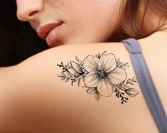 kids names tattoos for women on arm Hipster Tattoo, Boho Tattoos, Fake Tattoos, Flower Tattoos, Small Tattoos, Tatoos, Back Of Shoulder Tattoo, Shoulder Tattoos For Women, Temporary Tattoo Designs