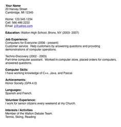 high school student resume examples for jobs resume builder httpwww - How To Write A Job Resume For A Highschool Student