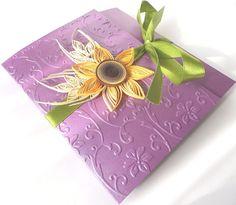 Purple wedding invitation/Sunflower handmade by mirelaemilia