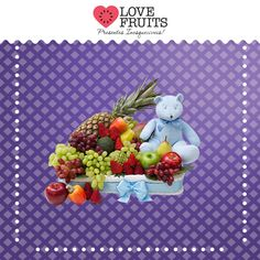 #BueMixFruits Bela cesta de vime recheada de abacaxi, avocado, mamão, maçãs, pera, atemoia, manga, caju, morangos, uvas e um lindo ursinho azul!   DÊ FRUTAS AO INVÉS DE FLORES E SURPREENDA!!! Presentes surpreendentes: http://www.lovefruits.com.br/