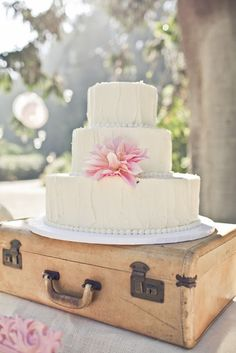 Simple rustic cake with a large dahlia by The Bread Basket
