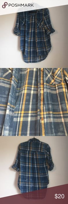 Flannel Top Blue and yellow cotton flannel button down. Tops Button Down Shirts