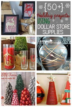 50 Plus Dollar Store Christmas Projects from @Johnnie (Saved By Love Creations) Lanier #christmas #dollarstorecrafts