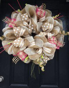Spring Burlap Wreath Shabby Chic Wreath by AllMeshedUp2014 on Etsy, $100.00 #trendytree #burlapwreath