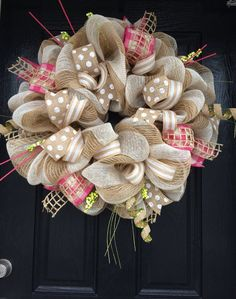 Pink and White Burlap Wreath  Shabby Chic by AllMeshedUp2014