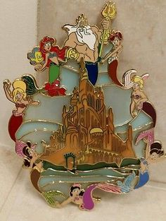 "Little Mermaid Jumbo 5"" Stainedglass Fantasy pin LE50"
