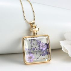 Link Chains – Chocker Dried Flowers Necklace Glass Square chain – a unique product by yugurdisli on DaWanda