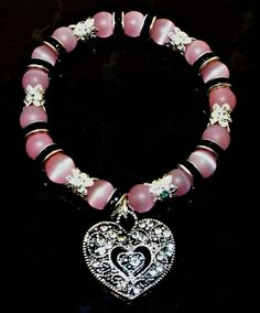 Pink Cats Eye Bracelet Set Silver Heart Charm by Willows3Creations