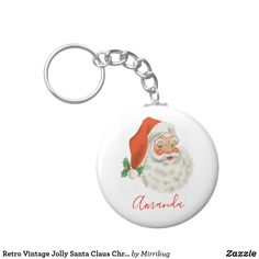 Retro Vintage Jolly Santa Claus Christmas Keychain Keychains, Create Your Own, Retro Vintage, Cool Designs, Santa, Personalized Items, Prints, Christmas, Key Hangers