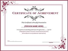 Lovely Certificates Of Achievement Free Templates 30 Acievement Certificate  Templates Certificate Templates, Sample Printable Certificate Template 8  Free Printable ... Throughout Certificate Templates In Word