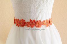 Orange Beaded Lace Sash , Orange Lace Headband ,  Bridal Headband, Bridesmaid Sash, Flower Girl Sash / SH-08 on Etsy, $27.00