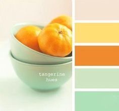 Pastel green, yellow and tangerine orange color schemes for bright and modern interior decorating -(hues, inspiration, design, paint, bowl of oranges)-