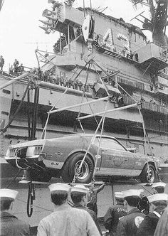 """Ford Mustang """"Lawman"""" arriving in Vietnam. Only 2 of these """"Lawman"""" Super BOSS 429 Mustangs were ever made by Ford for tour to U. troops in Vietnam, Japan, Guam, Hawaii, & Mainland military bases. Ford Lincoln Mercury, Ford Motor Company, Vintage Racing, Vintage Cars, Bicicletas Raleigh, Classic Mustang, Mustang Boss, Us Cars, Drag Cars"""