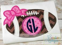 Football Bow Monogram Applique - 4 Sizes! | What's New | Machine Embroidery Designs | SWAKembroidery.com Creative Appliques