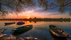 Jezioro, Łódki, Zachód słońca, Gałęzie