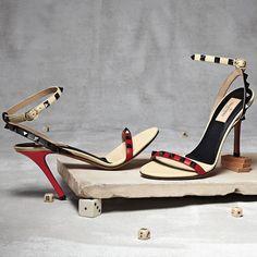Valentino Colorblock Rockstud Lacquer-Stud Ankle-Wrap Sandal