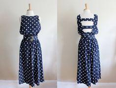 The cutest! Vintage Navy & White Polka Dot Open Back Midi Dress.