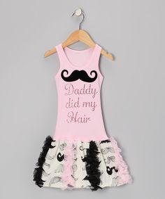 I don't know that the girl needs this, but I could've used it for my 1st grade class picture! :) | Pink 'Daddy Did My Hair' Mustache Ruffle Dress