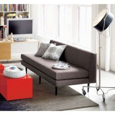 Bowl on red cube table for basement Sofa Makeover, Cube Table, Apartment Sofa, Mid Century Sofa, Modern Sofa, Home Living Room, Great Rooms, Floor Lamp, Lounge