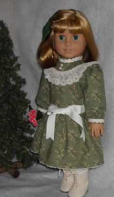 Green Holiday Print Dress for 18 Inch Dolls like Nellie and Samantha via Etsy.