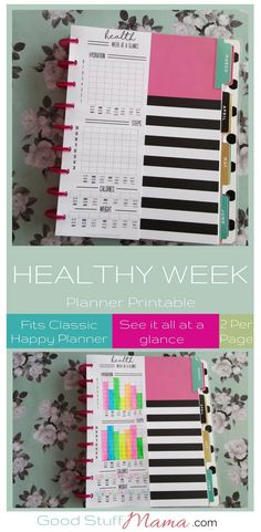Healthy planner printable - awesome at a glance way to track your health stats with this planner printable - fits classic size happy planner.  #fitnessplanner