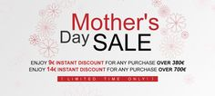 Let's Celebrate Mother's Day with our Limited Time Sale!  Enjoy 9€ Instant Discount for Any Purchase over 380€  Enjoy 14€ Instant Discount for Any Purchase over 700€  Go Shopping with Mama Now >> http://www.eglobalcentral.eu/?utm_source=Pinterest%20Banner&utm_medium=Social&utm_campaign=Pinterest%20Promo