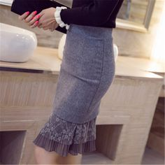 Occupation Skirt Shooting Lace Skirt Bag Hip Slim Women Plus Size Skirt 25 Color Black Size S Types Of Skirts, Lace Decor, Spandex Dress, Pants For Women, Clothes For Women, Plus Size Skirts, Plus Size Womens Clothing, Skirt Fashion, Style Fashion