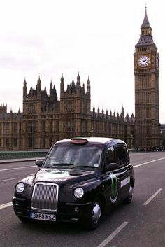 London Black Cab. (Tip: if the orange light above the driver is off, it has a passenger & won't stop.)