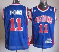 Throwback Pistons #11 Thomas Blue Stitched NBA Jersey