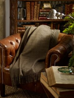 ralph lauren throw/leather chair/home library Chesterfield Sofas, Home Living, Living Spaces, Living Room, Chic Retro, Plaid Bedding, Plaid Blanket, Nooks, Family Room