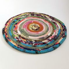 Multicolor Jewels Fabric Table Mat, Placemats, Cloth Mat, Made to Order, Qty: 1, Braided Rug Style, Upcycled, Eco-Conscious, Eco-Friendly, Boho Hippie Unique Colorful, Vintage Inspired