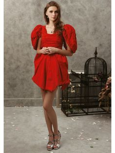 Silk Pongee Open Sleeve Neckline Ruched Bodice Knee-length Prom Dress
