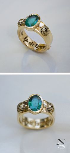 Esoteric Yantra Ring. This is a custom 18K gold ring. There is a Sanskrit mantra engraved on the inside as well as an embossed mantra on the outter band. The emerald is set to make skin contact with the intention of strengthening the beneficial influences of Mercury in my clients Vedic astrology chart.