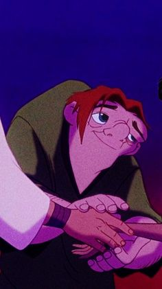 Quasimodo giving up the girl. And smiling because he knows he can still be happy without one. The messages in this movie are far beyond many adult films.