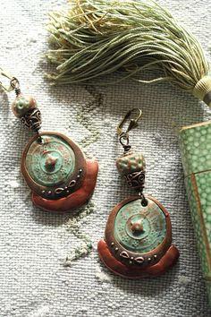 Boucles rustiques-boucles ethniques- polymère et cuivre- vert aqua-cuivre- bijoux polymère- bijoux ethniques- création unique