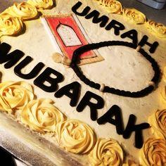 14 inch square vanilla & strawberry cake with Umrah fondant details