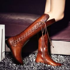 Ladies  Womens Lace Up Zipper Pointed Toe Knee High Riding Boots Shoes Plus Size