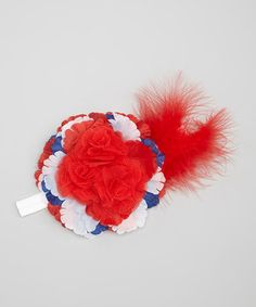 Love this White & Red Patriotic Feather Flower Headband by Wholesale Princess on #zulily! #zulilyfinds
